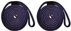 Double Braid Nylon Dock Line - 3/8 X 20and039 / 2-pack Non-fading - Navy Usa