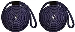 Double Braid Nylon Dock Line - 1/2 X 25and039 / 2-pack Non-fading - Navy Usa
