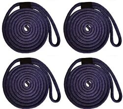 Double Braid Nylon Dock Line - 1/2 X 15and039 / 4-pack Non-fading - Navy Usa Made