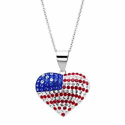 Crystaluxe American Flag Heart Pendant With Crystals Sterling Silver