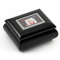 3x2 Wallet Size Black Lacquer Photo Frame Music Box With New Pop-out Lens System