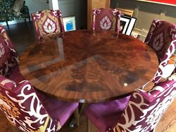 Pie Cut 60and039and039 Custom Mahogany Table With 6 Custom Chairs Set Mint
