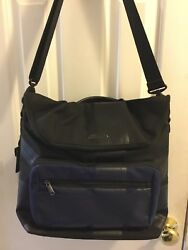 MINI by Tumi 68802 2 in1 Backpack Laptop Removable Crossbody Tote Black Blue