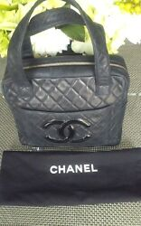 AUTHENTIC  CHANEL CLASSIC HANDBAG CC LOGO QUILTED BLACK LEATHER   RARE