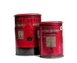 Vintage Pair Of 1910and039s Fry And Sons Happynak Tin Money Boxes Still Banks