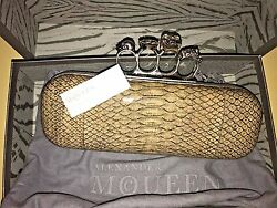 Alexander McQueen Light Grey Snakeskin Silver Scull Clutch Women Handbag Bag