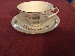 Lefton 25th Anniversary Tea Cup And Saucer Set 1984 05061