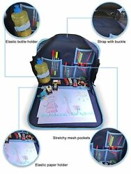 Car Seat Kids Travel Tray in Blue with Solid Surface  Messenger Bag for Drawing