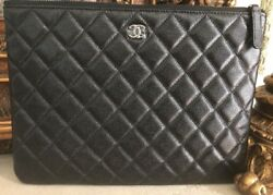 "CHANEL BLACK Caviar Leather Quilted Medium 8""x11"" O-CaseClutchPurse! New wTags"