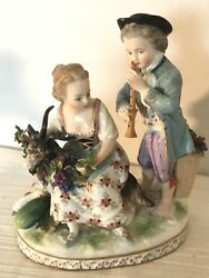 Vintage Capodimonte Porcelain Figurines Boy Playing Flute And Girl On Ram