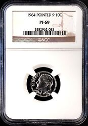 1964 Proof Roosevelt Dime, Pointed 9 Variety, Graded Pf 69 By Ngc