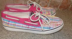 Sperrys Top-siders Plaid And Pink Womens Size 7 Med