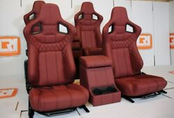 Front + 2nd Row Corbeau Burgundy Leather Cubby Fits Land Rover Defender 110