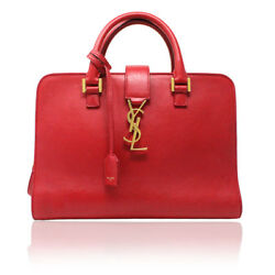 YSL Yves Saint Laurent Red Leather Gold Hardware Crossbody Handbag