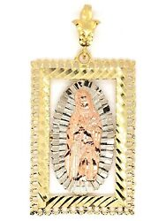 10k Tri Color Gold Big 3D Virgin Mary Lady of Guadalupe Charm Pendant 15.7grams