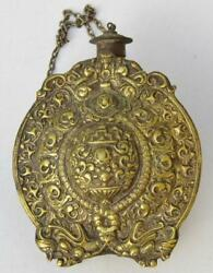 Rare Antique 18th Century Powder Flask Balkan Russian Orthodox Brass And Silver