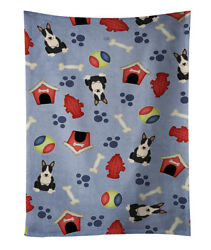 Dog House Collection Bull Terrier Black White Kitchen Towel