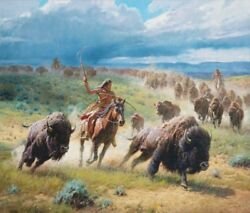 Chasing Thunder By Martin Grelle Native American Indian Western Buffalo 30x36