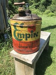 Vintage Empire Motor Oil 5 Gallon Gas Can, Wolfs Head , Wood Handle