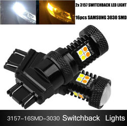 3157 Switchback LED Turn Signal Lights T25 3030 SMD Dual Color White Amber Bulbs