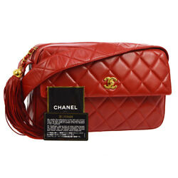 Auth CHANEL Quilted Fringe CC Cross Body Shoulder Bag Red Leather VTG JT06476