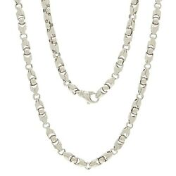 Menand039s 14k White Gold Solid Heavy Bullet Style Chain Necklace 20 6mm 68.5 Grams