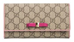 Gucci Pink Bow Bowie Supreme GG Fold over fuschia Leather Wallet New Orange Box