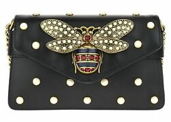 GUCCI BLACK BROADWAY STUDDED BUTTERFLY LEATHER CLUTCH BAG
