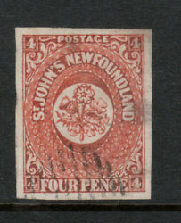 Newfoundland 4 Extra Fine Used With Huge Margins And Two Very Tiny Thins