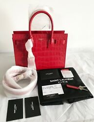 NWT AUTH Saint Laurent Baby Sac De Jour YSL Red Croc Embossed Leather Tote Bag