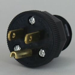 Antique Vintage Style Lamp Cord Plug W/ Ground 3 Prong Black Ul Listed