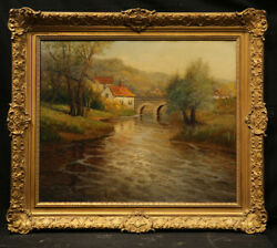 Antique Painting Fall Landscape With River Houses And Bridge