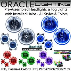 Oracle Halo Headlights And Fog Lights For 07-18 Jeep Wrangler Jk All Colors