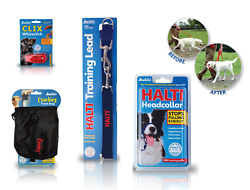 DOG PUPPY TRAINING LINE CLICKER TRAINERS WHISTLES HALTI HEAD COLLAR TREAT BAGS