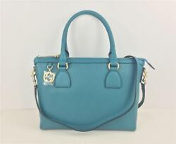 New Gucci 449659 Teal Leather Tote Zip top GG charm w removable strap