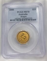 Australia 2000 1/4 Oz 9999 Gold 25 Coin Year Of Dragon Pcgs Ms70 Perfect Pop 2
