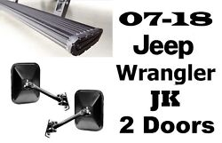 AMP Xtreme Running Boards w/Free Rugged Ridge Mirrors For 07-18 Wrangler JK 2DR