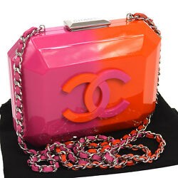 Authentic CHANEL Plastic Chain Cross Body Shoulder Bag Pouch Pink Orange N20091