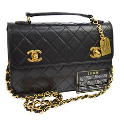 Auth CHANEL Quilted CC 2way Chain Hand Bag Black Leather Vintage GHW N00656