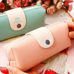 Pencil Case Leather School Bag for Girl Stationery School Supplies Purse Makeup