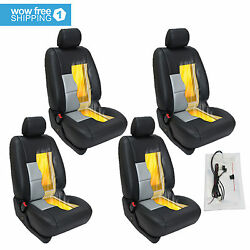 4 x Car Seat Heater Kit Cushion Round Switch HighLow Carbon Fiber Pad Universal