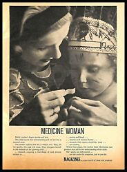 1964 Magazines Reading Vintage Print Ad Mother And Child First Aid Indian Bandw