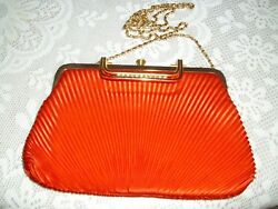 SATIN CRYSTAL  EVENINGPARTY  CLUTCH BAG WOMEN'S RED and GOLD Color HANDBAG