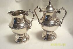 Academy Copper On Silver Cream Pitcher And Covered Sugar Bowl Vintage