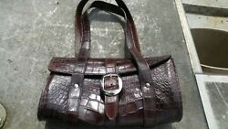 Wild Alligator leather Barcelona Round Purse Bag designer gator leather