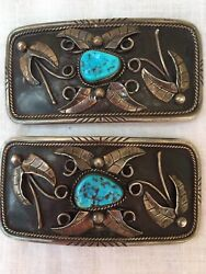 Greg Pat Navaho Sterling Silver And Turquoise Belt Buckle And Concho