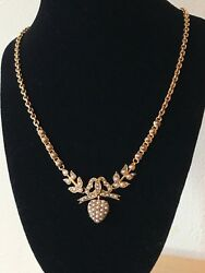 Victorian 15ct Gold, Seed Pearl Necklace. 15 Inch 38cm