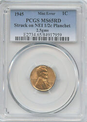 1945 Pcgs Ms65 Red On Netherlands 1/2c Planchet 1c Beautiful Lincoln Wheat Cent