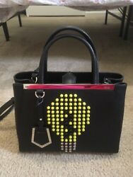 FENDI New 2jours Petite Light Bulb Monster Bag Bug Studded Crossbody Tote RARE