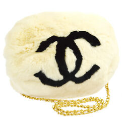 Authentic CHANEL CC Logos Chain Arm Sleeve Shoulder Bag Ivory Lapin Fur N20325
